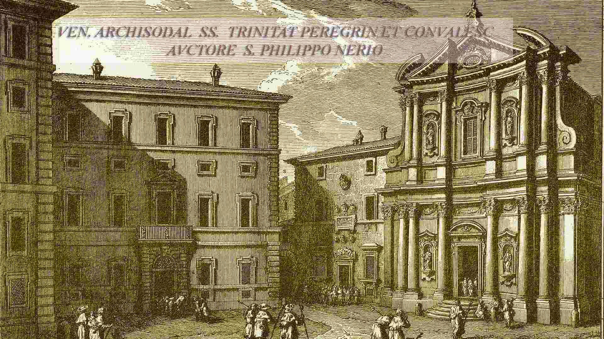 Incisione del 1753  di Giuseppe  Vasi della  Chiesa SS.  Trinità dei Pellegrini